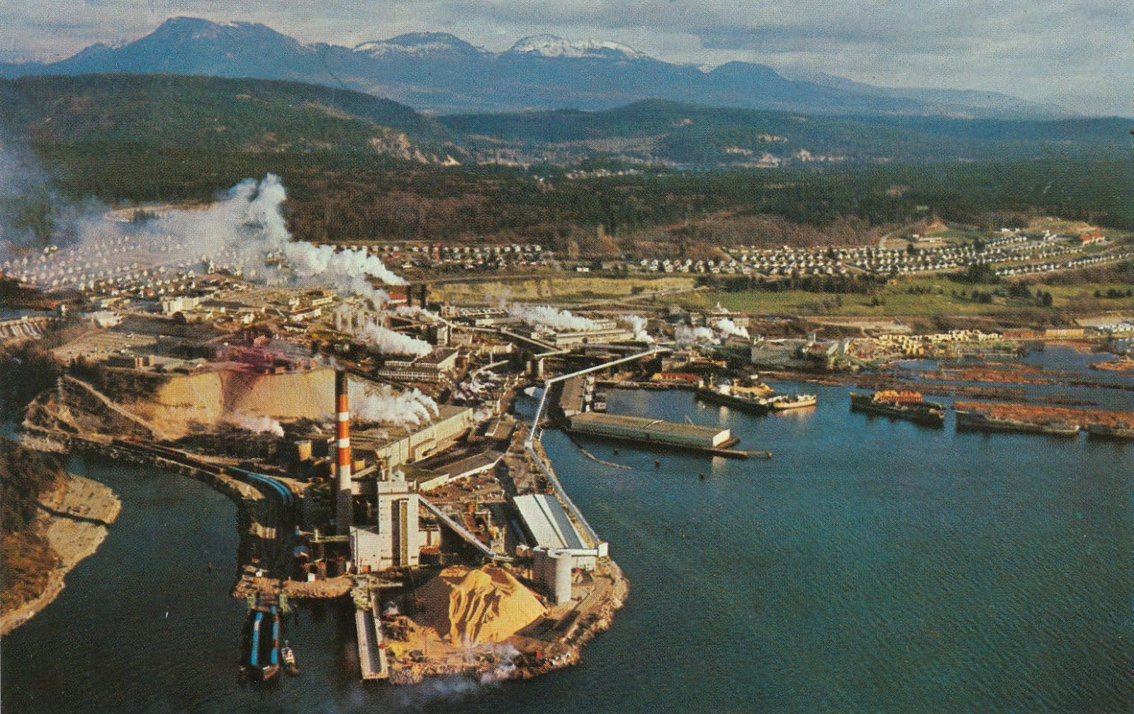 Postcard: Pulp and Paper Mill and Townsite, Powell River, BC, c.1960s BY Rob - Flickr